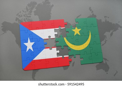 puzzle with the national flag of puerto rico and mauritania on a world map background. 3D illustration