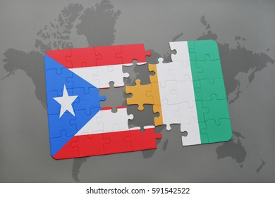 puzzle with the national flag of puerto rico and cote divoire on a world map background. 3D illustration