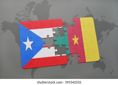 puzzle with the national flag of puerto rico and cameroon on a world map background. 3D illustration