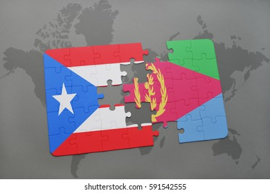 puzzle with the national flag of puerto rico and eritrea on a world map background. 3D illustration