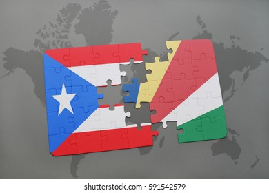 puzzle with the national flag of puerto rico and seychelles on a world map background. 3D illustration