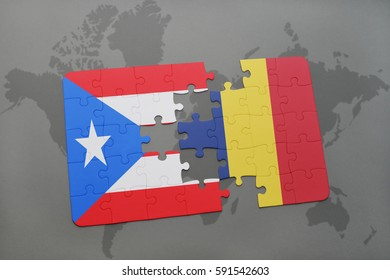 puzzle with the national flag of puerto rico and chad on a world map background. 3D illustration