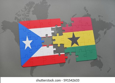 puzzle with the national flag of puerto rico and ghana on a world map background. 3D illustration