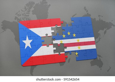 puzzle with the national flag of puerto rico and cape verde on a world map background. 3D illustration