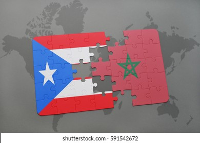 puzzle with the national flag of puerto rico and morocco on a world map background. 3D illustration