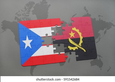 puzzle with the national flag of puerto rico and angola on a world map background. 3D illustration