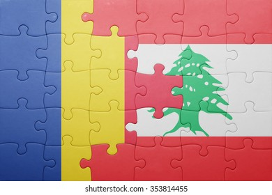 puzzle with the national flag of romania and lebanon . concept