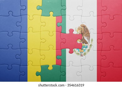 puzzle with the national flag of romania and mexico . concept