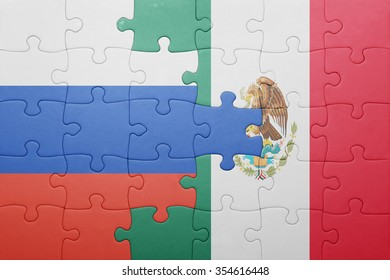 puzzle with the national flag of russia and mexico . concept