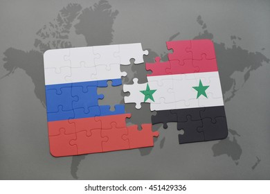 puzzle with the national flag of russia and syria on a world map background. 3D illustration