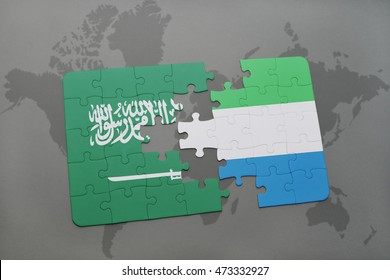 puzzle with the national flag of saudi arabia and sierra leone on a world map background. 3D illustration
