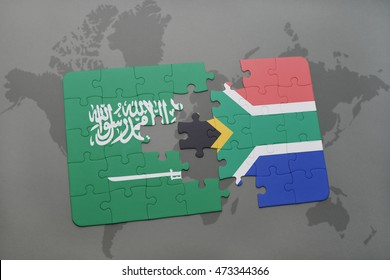 puzzle with the national flag of saudi arabia and south africa on a world map background. 3D illustration