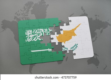 puzzle with the national flag of saudi arabia and cyprus on a world map background. 3D illustration