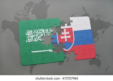 puzzle with the national flag of saudi arabia and slovakia on a world map background. 3D illustration