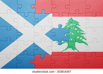 puzzle with the national flag of scotland and lebanon . concept