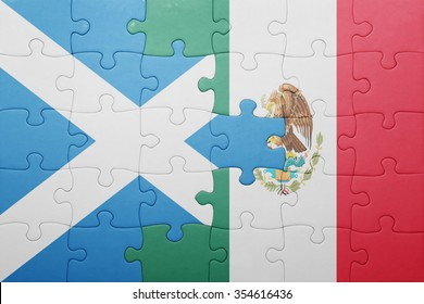 puzzle with the national flag of scotland and mexico . concept