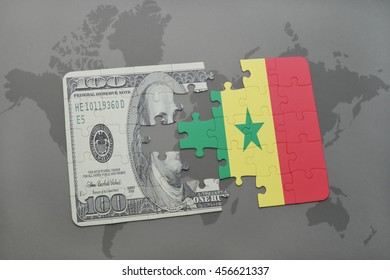 puzzle with the national flag of senegal and dollar banknote on a world map background. 3D illustration