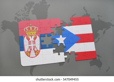 puzzle with the national flag of serbia and puerto rico on a world map background. 3D illustration