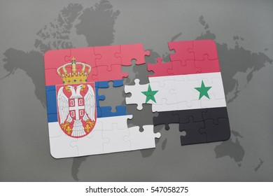 puzzle with the national flag of serbia and syria on a world map background. 3D illustration