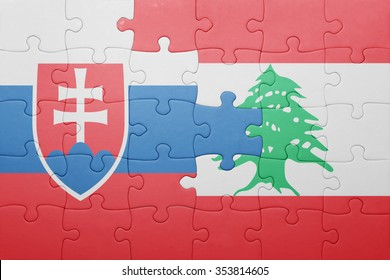 puzzle with the national flag of slovakia and lebanon . concept