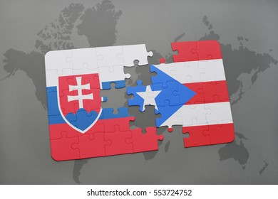 puzzle with the national flag of slovakia and puerto rico on a world map background. 3D illustration