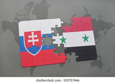 puzzle with the national flag of slovakia and syria on a world map background. 3D illustration