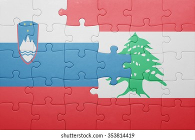 puzzle with the national flag of slovenia and lebanon . concept