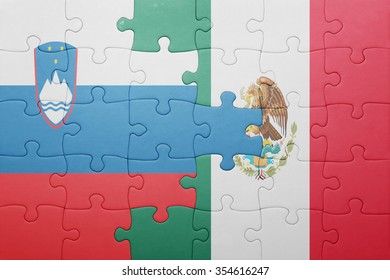 puzzle with the national flag of slovenia and mexico . concept