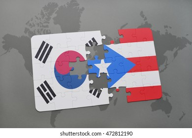 puzzle with the national flag of south korea and puerto rico on a world map background. 3D illustration