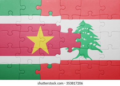 puzzle with the national flag of suriname and lebanon . concept
