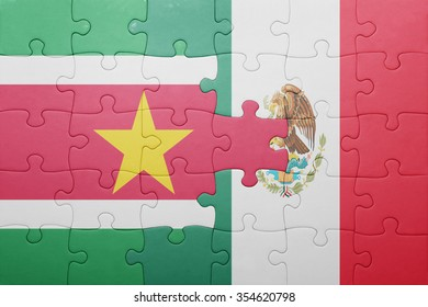 puzzle with the national flag of suriname and mexico . concept