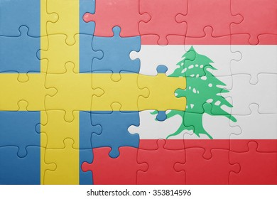 puzzle with the national flag of sweden and lebanon . concept