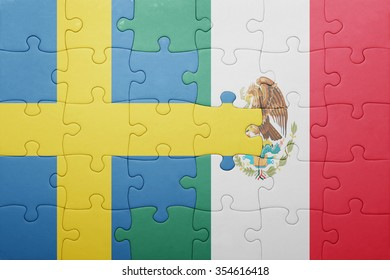 puzzle with the national flag of sweden and mexico . concept