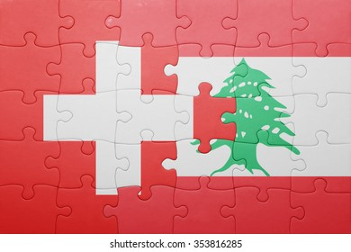 puzzle with the national flag of switzerland and lebanon . concept