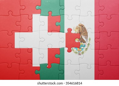 puzzle with the national flag of switzerland and mexico . concept