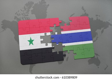 puzzle with the national flag of syria and gambia on a world map background. 3D illustration