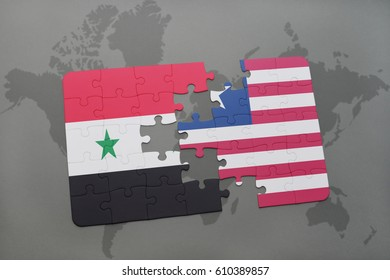 puzzle with the national flag of syria and liberia on a world map background. 3D illustration