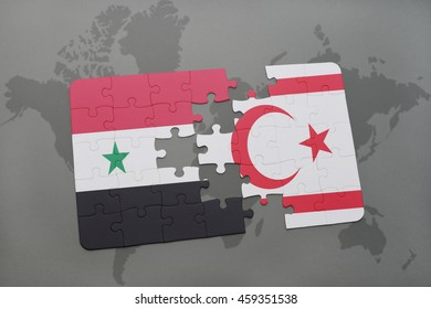 puzzle with the national flag of syria and northern cyprus on a world map background. 3D illustration