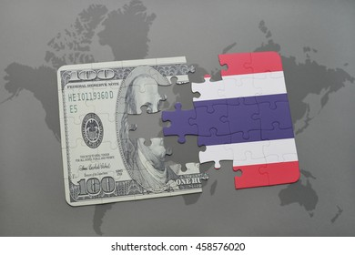 puzzle with the national flag of thailand and dollar banknote on a world map background. 3D illustration