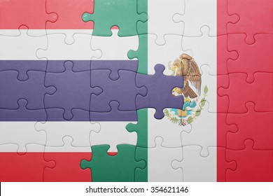 puzzle with the national flag of thailand and mexico . concept