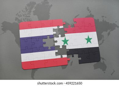 puzzle with the national flag of thailand and syria on a world map background. 3D illustration
