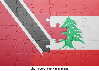 puzzle with the national flag of trinidad and tobago and lebanon . concept