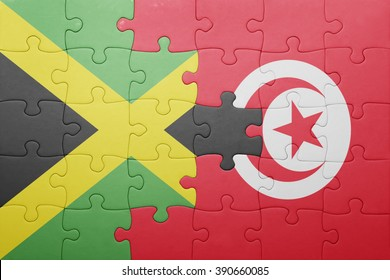 puzzle with the national flag of tunisia and jamaica . concept