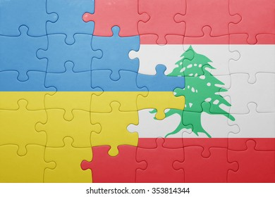 puzzle with the national flag of ukraine and lebanon . concept