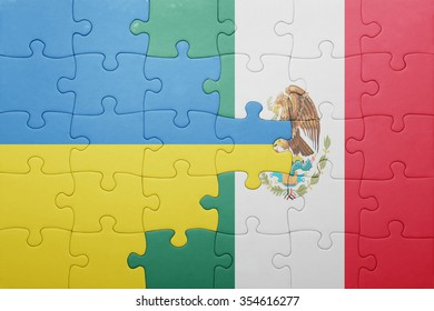 puzzle with the national flag of ukraine and mexico . concept