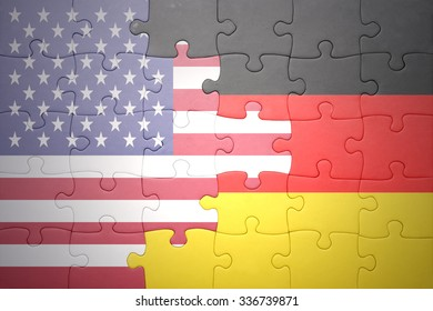 puzzle with the national flag of united states of america and germany .concept