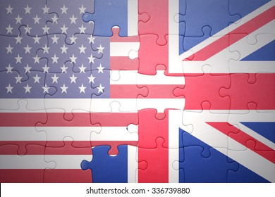 puzzle with the national flag of united states of america and great britain .concept