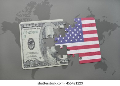 puzzle with the national flag of united states of america and dollar banknote on a world map background. 3D illustration