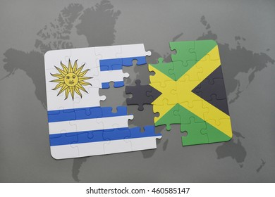 puzzle with the national flag of uruguay and jamaica on a world map background. 3D illustration