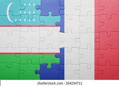 puzzle with the national flag of uzbekistan and france . concept